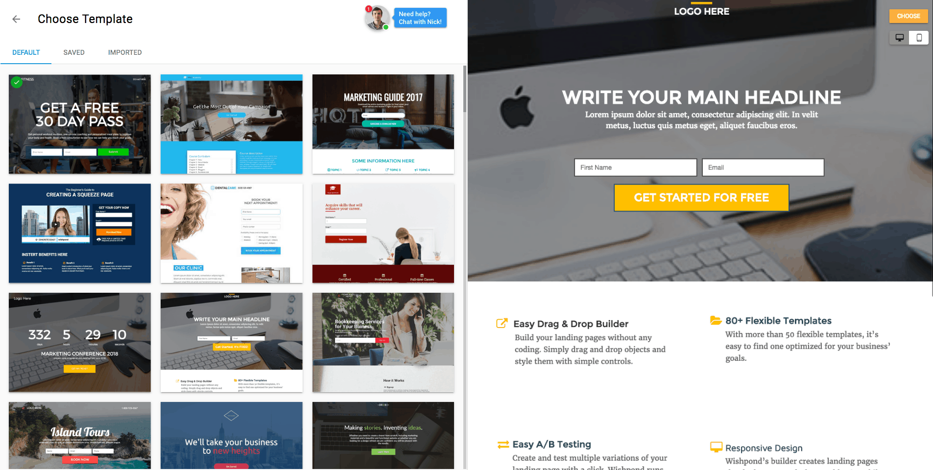 wishpond landing pages templates
